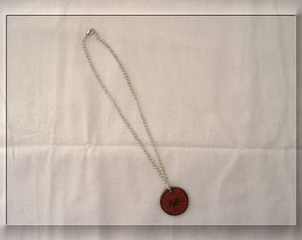Long chain and polymer clay necklace