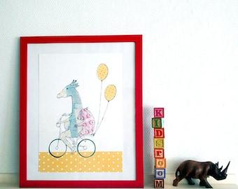 Giraffe & piglet on a bike, kids bedroom decoration, poster nursery, babyshower gift, newborn present, pig and giraffe, bike riding poster