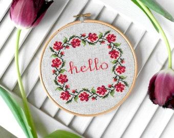 Hello embroidery hoop art embroidery art hello wall art gift Floral wall art decor Flower wall art Cross stitch hoop Hand Embroidery design