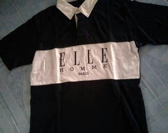 RARE!! ELLE spell out short sleeve polo big logo hip hop streetwear