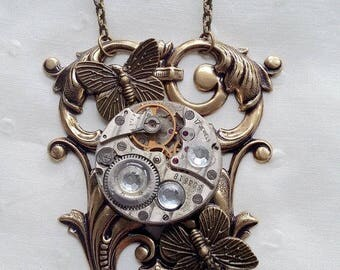 Steampunk 2 Butterfly pendant necklace