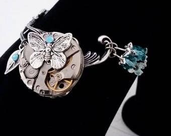 Steampunk blue butterfly bracelet