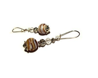 Retro earrings, Brown marbled stone beads