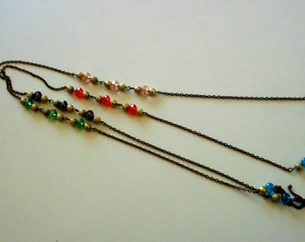 Long vintage necklace, pair of chains and beads