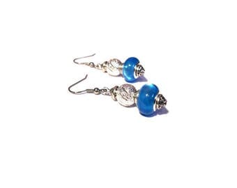 Retro earrings, bright blue beads