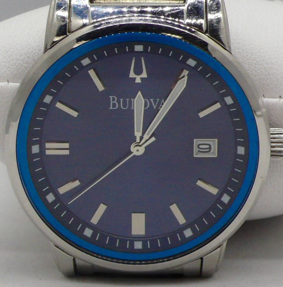 Bulova 96B160 Electric Blue Dial Men's Stainless Steel Watch