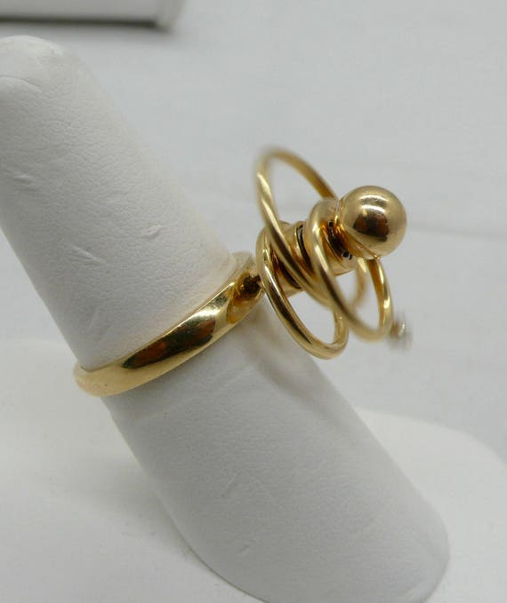 14kt Gold Spinner and Diamond Lady's Ring Vintage