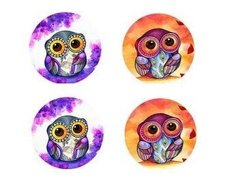 16mm, 2 pairs of owls (purple, orange)
