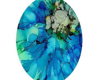 cabochon 30x40mm, abstract blue watercolor