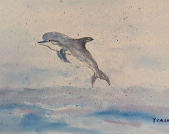 Playful Dolphin art watercolor painting digital download