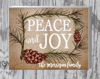 "Rustic Farmhouse Peace & Joy | Family Christmas Sign | Winter Decor | Customized Christmas Gift | 11"" x 14"" Wrapped Canvas"