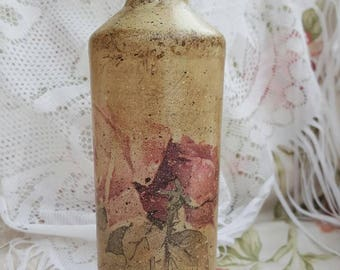 Decorated glass bottle, Handmade, Home decor, Shabby  chic, Vintage style.