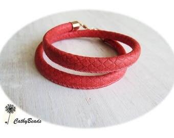 Genuine leather, coral bracelet