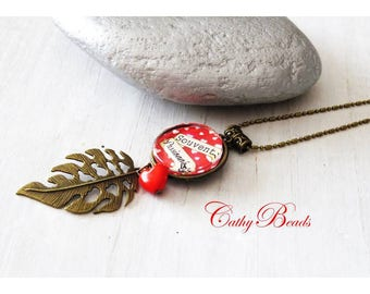 """""""Often passionate"""" red cabochon necklace"""
