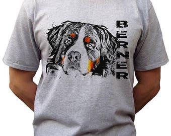 Berner head grey t shirt bernese mountain dog top tee 100% ringspun cotton tee graphic design