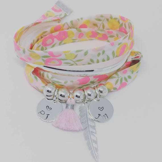 Bracelet Liberty WILTSHIRE Lemon Curd exclusive - GriGri XL with 2 custom ENGRAVINGS, silver feather and tassel by Palilo