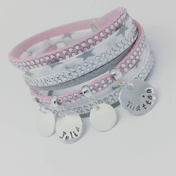 ★ Gift idea personalized ★ multi-row Liberty Star with 2 custom ENGRAVINGS ★ Palilo Jewelry Personalized Bracelet