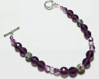 Amethyst Purple Crystal Cloisonne Beaded Bracelet