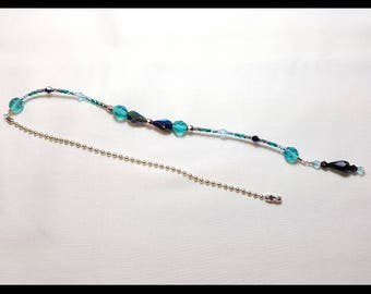 Stunning Teal Black Crystal Beaded Fan Pull Silver Chain