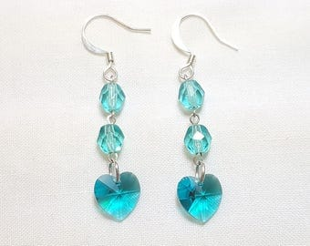 March Aquamarine Blue Crystal Heart Earrings
