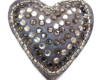 heart felt rhinestone brooch and rock beads grey and white rhinestones