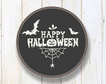 Happy Halloween Cross Stitch Pattern, Cool Cross Stitch Sampler, Halloween Patterns, Halloween Gift, Halloween Home Décor #hl003