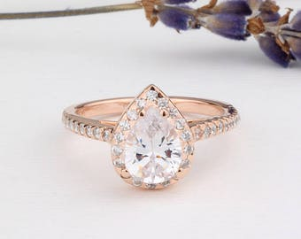 Rose Gold Pear Shaped Ring / Halo Ring Half Eternity Wedding Engagement Ring