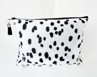 Gifts for her, Dumpy Wash bag, Dalmatian print, Boxy bag, cosmetic bag, zip bag, make up bag.