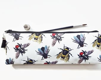 XLong brush bag,Art gifts,vintage bee species,pencil case, student gift, teacher gift, art gift, pencil pouch, brush bag,bees,queen bees.