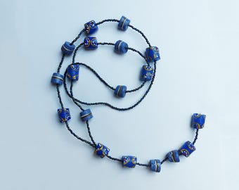 Necklace glass beads & seed beads * blue