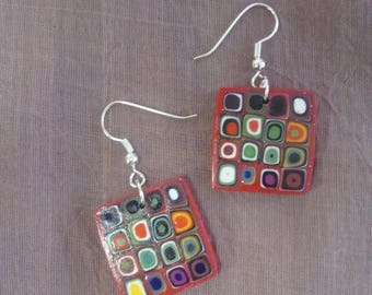 "Square earrings ""Klimt"" style red multicolored"
