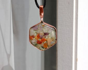 Copper and resin Hexagon pendant