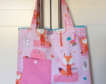 Library bag - kids tote bag bag - girl pink bag
