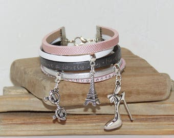 """Cuff Bracelet, MULTISTRAND, pink blush, white, silver, leather, suede, teenager """"Beautiful PARISIENNE"""" Merryweather creation"""