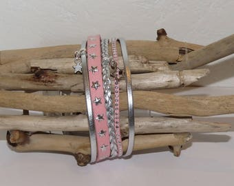"""""""Pink sweet shooting star"""" Cuff Bracelet leather, suede star studded Suede, pastel pink color, pink"""