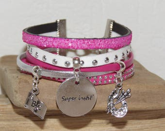 "Cuff - gift for teacher ""super teacher"" leather and glitter, white, pink and silver"