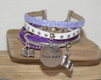 "Cuff - gift for teacher ""super teacher"" leather and glitter, white, purple, mauve, lilac color"
