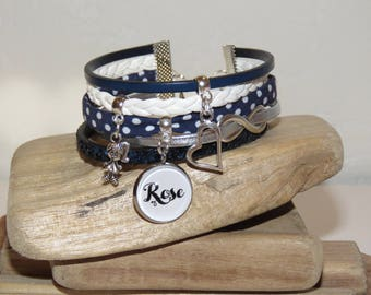 Personalized Bracelet with the name of your choice, leather, bias peas, suede, Navy Blue, white