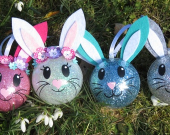 set of 4 Easter bunnies, decoration for Easter, Easter tree, balls rabbits personalized with names, choice of colors