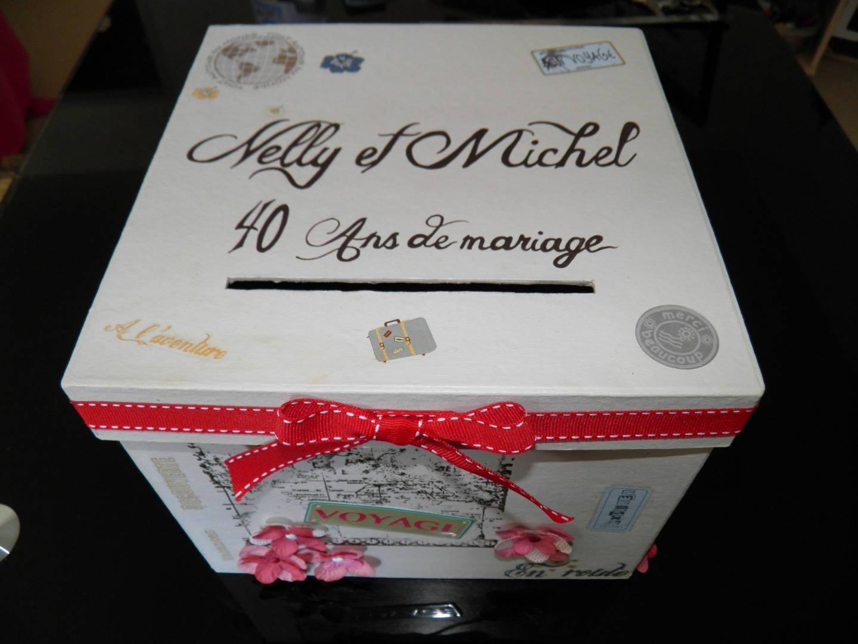 Urne anniversaire de mariage theme voyage carte postale - Decorer boite carton pour anniversaire ...