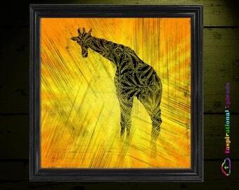 "Giraffe - 12"" x 12"" HD DIgital Print"