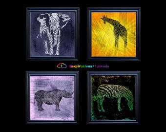 "African Safari - Four 12"" x 12"" HD Digital Prints (Elephant, Giraffe, Rhino, Zebra)"