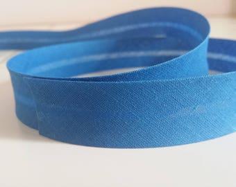 Textile plain color 20 mm blue bias