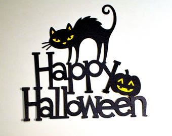 HAPPY HALLOWEEN ~ Black Cat premade pre-made scrapbook page title paper piecing pieces