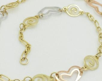 "14k Yellow Gold Hearts and Swirls Cable Chain Bracelet Anklet 9"" 10"""