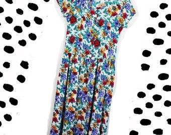 1990's Floral Midi Dress