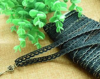 Guipure lace embroidered gold and black Largeur0.9cm L009001(Non compris pendentifs)
