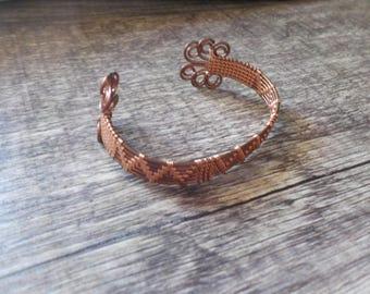 Wire weaved copper cuff bracelet