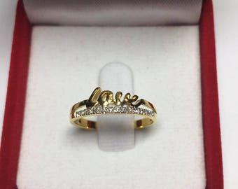 Love Ring with Diamond 9kGold,15 Diamonds,0.06 Carat