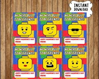 Lego Valentineu0027s Day Cards Instant Download, Printable Building Blocks  Valentine Cards, Building Blocks Happy